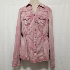 Guess Pink Distressed Button Down